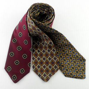 Brooks Brothers Print Silk Tie Bundle Set of 3 E5